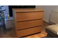 Ikea Malm Chest of Three Drawers