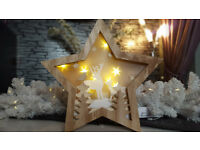 Wooden star pre lit christmas decoration