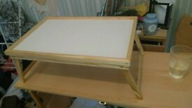 Folding wooden lap/bed tray