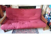 Akino 3-seater bi-fold burgundy sofabed futon in excellent condition