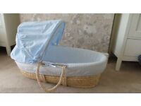 Mothercare Moses Basket with Foam Mattress & Kiddicare Folding Moses Basket Stand (Natural) - £20