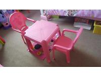 Pink Table and 2 chairs