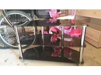 3 tier Black and chrome TV stand