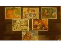 6 children's story themed stamps