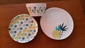 Melamine plates and bowls.