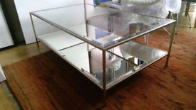 Oliver Coffee Table Antique Silver Mirror & Glass RRP £924 Ex Display