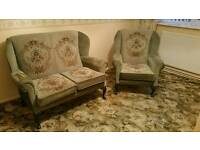 Vintage wing back chairs in excellent condition