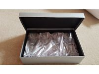 x4 24% lead crystal wine glasses & display box, Immaculate condition