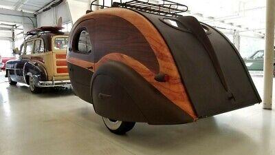 Teardrop Camper Camping Travel Trailer RV Vintage cargo morotcycle Art Deco