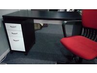 Large desk, matching storage unit & office chair