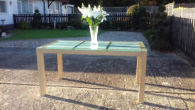 SALE-££-SALE STUNNING ITALIAN ETCHED GLASS TOP TABLE WITH MAPLE FRAME FOR SALE