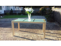 STUNNING ITALIAN ETCHED GLASS TOP TABLE WITH MAPLE FRAME FOR SALE
