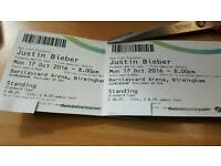 2xJustin Bieber tickets for Monday 17th October 2016, Birmingham