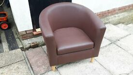 2 brown leather type tub chairs