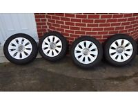 Audi A6 Alloy Wheels with Winter Tyres 205/60/R16 fits many VW group cars.