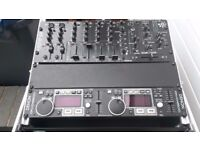 Flight Case, Mixer, CDJ and Sound Card. Industry standard makes and models in excellent condition