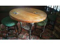 Round Cast Iron Pub Table/Garden/Cafe/Britannia/Bar/Solid Wood Top