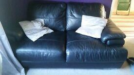2&3 italian real leather black settees