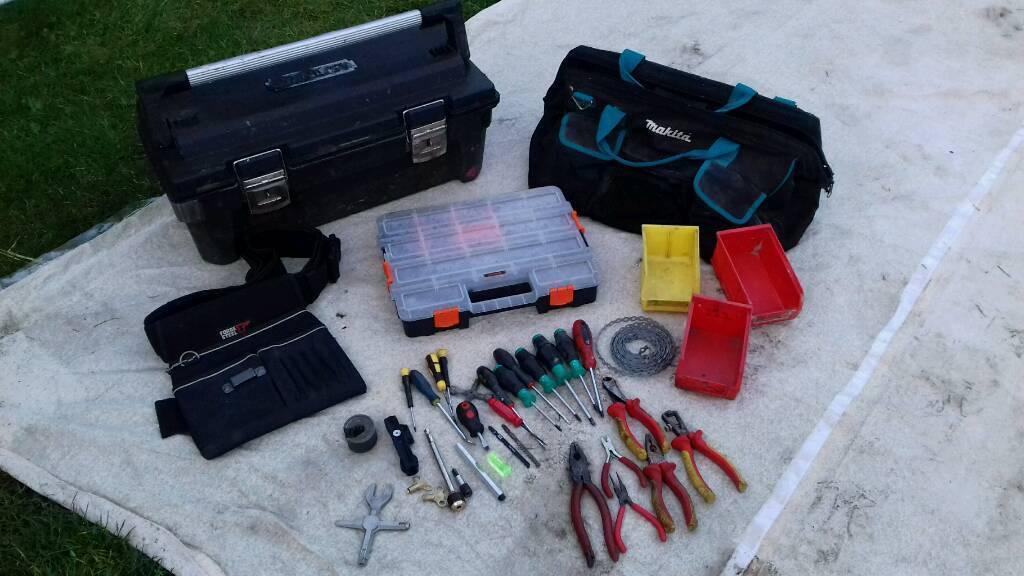 Stanley tool box, tool belt, makita bag, tools