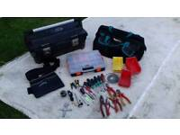 Stanley tool box, tool belt, makita bag, tools