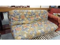 Cream and Green Floral Fabric Sofa Bed in Great Condition