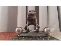 Rare Vintage Brass Frog Figure Statue Weight Lifter Body Builder Figurine