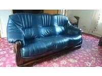 Leather sofa and arm chair