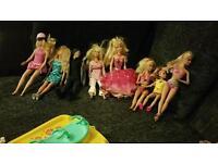 Barbie Dolls, horse, carriage, boat, motorbike