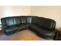 Leather Corner Sofa & Armchair, Green