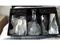 Royal Doulton Crystal Decanter and 4 Crystal Wine Glasses