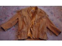 London Paris New York genuine leather/suede fully lined beige jacket