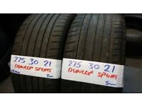PAIR MATCHING 275 30 21 DUNLOP SPORTS 5mm tread £100 pair OVER 3000 TYRES IN STOCK **OPN 7 DAYS