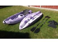 2 x Galaxy Fuego Single Kayaks (will sell separately or as a pair) £210 each inc paddle and backrest