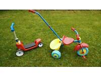 Little Tikes 2in1 scooter and TJ Morris (push) tricycle