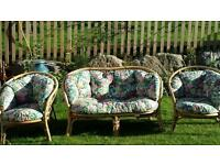 wicker conservatory (or garden) sofa and two chairs