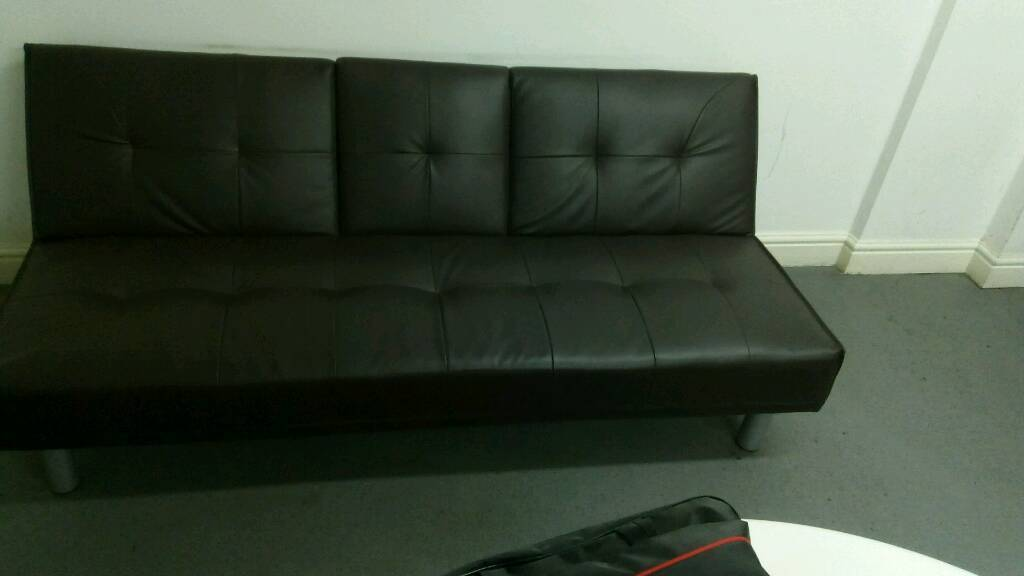 Leather Folding Sofa Bed Brown Click Clack In Liverpool