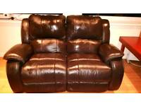 Sofa black leather recliner