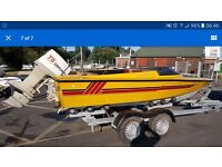 Fast speedboat 70hp with twin axel trailer