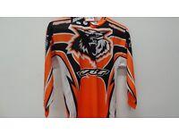 wulfsport race shirt motocross motox quad youth kids junior orange black size 5-7