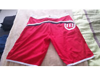 ANIMAL Swim Shorts (L) Red with black and white stripe. Red laces. 100% polyester. Barely worn