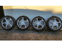 Wolfrace EuroSport Matrix alloy wheels 17 + 4 x tyres 215 45 17 Ford ,Volvo ,Mazda,Honda and more