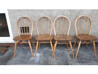 Set of four Ercol dining chairs 1960s mid century vintage