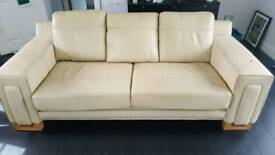 3+2 cream leather sofa + footstool