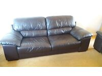For sale matching 3 & 2 seater brown leather sofas, well maintained in good condition