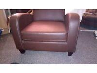 2 Julian Bowen contemporary design chestnut colour armchairs