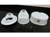 BRAND NEW WHITE LITTLE STAR 3 PIECE TOILET TRAINING SET – POTTY + STEP + SEAT
