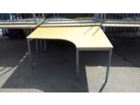 160cm Curved Corner Desk With Grey Metal Legs - Left & Right Hand