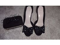 Black Carvela shoes size 40 and matching clutch bag