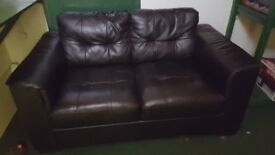 Black leather 2 seeter sofa