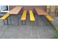 Vintage German wooden beer garden folding trestle table and bench set